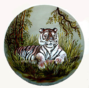 Tiger Glass Art - Tiger on glass lamp shade by Patricia Rachidi