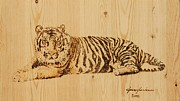 Drawing Pyrography Prints - Tiger Pyrography Print by Jeremy Cardenas