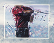 Tiger Woods Paintings - Tiger by Redlime Art