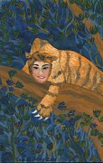 Sue Burgess Paintings - Tiger Sphinx by Sushila Burgess