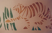 Burnt Drawings Posters - Tiger stencil Poster by Rebecca Lilley