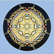 Betsy Posters - Tiger Swallowtail Mandala on blue Poster by Betsy Gray