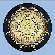 Tiger Swallowtail Mandala On Blue Print by Betsy Gray