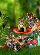 Family Gathering Posters - Tiger Toadstools Poster by Julie L Hoddinott