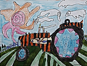 Cloud Drawings Originals - Tiger Tractor by Stephanie Ward