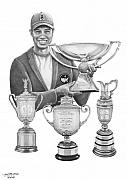 Famous People Drawings - Tiger Woods-Decades Best by Murphy Elliott