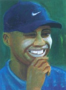 Tiger Woods Drawings - Tiger Woods by Emmanuel Baliyanga