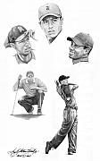 Sports Art Drawings Posters - Tiger Woods- Full Circle Poster by Murphy Elliott
