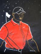 Golf Players Paintings - Tiger Woods Hazeltine 2009 by Lesley Giles