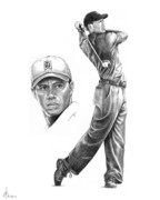 Sports Figure Drawings Posters - Tiger Woods Intense Poster by Murphy Elliott