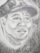 Tiger Woods Drawings - Tiger Woods by Merlene Pozzi