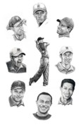 Golf Drawings Posters - Tiger Woods-Murphy Elliott Poster by Murphy Elliott