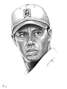 Famous People Drawings - Tiger Woods by Murphy Elliott