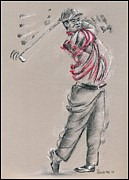 Tiger Woods Drawings - Tiger Woods by Paulette Farrell