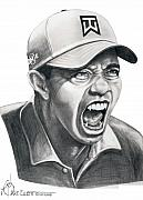 Tiger Woods Drawings - Tiger Woods-Roaring Tiger by Murphy Elliott