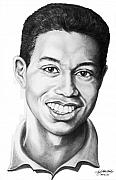 Famous People Drawings - Tiger Woods Tiger Cub by Murphy Elliott