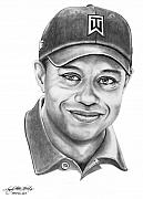 Tiger Woods Drawings - Tiger Woods-Tiger Grin-Murphy Elliott by Murphy Elliott