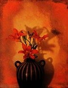 Signed Photo Prints - Tigerlilies  In Pottery Made in Peru Print by Marsha Heiken