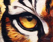 Watercolor Tiger Posters - Tigers Eye Poster by Bill Fleming