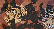 Mix Media Mixed Media Prints - Tigers of the Night Print by Ruth Edward Anderson