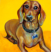 Dachshund Art Paintings - Tigger Smiles by Rebecca Korpita