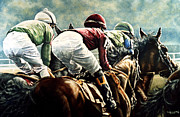 Horse Racing Prints Posters - Tight Quarters Poster by Thomas Allen Pauly