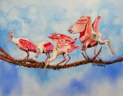 Spoonbill Paintings - Tight Rope by Maria Barry