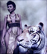 Warrior Goddess Paintings - Tigress by Maynard Ellis