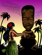 Grass Skirts Posters - Tiki Sunset Poster by Keith Tucker