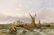 Sail Boats Prints - Tilbury Fort - Wind Against the Tide Print by William Clarkson Stanfield