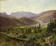 Mountain Range Paintings - Tile Fjord by Louis Gurlitt