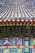 Patterned Posters - Tile Roof and Art on the Temple of Heaven Poster by Sam Bloomberg-rissman