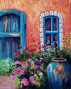 Southwest Landscape Pastels Metal Prints - Tiled Window Metal Print by Candy Mayer