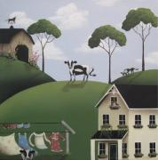 Weathervane Painting Posters - Till The Cows Come Home Poster by Catherine Holman