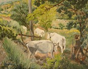 Italian Landscapes Paintings - Till the Cows Come Home by Veronica Coulston