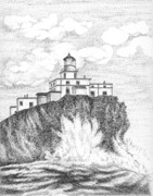 Portraits Drawings - Tillamook Rock Lighthouse by Lawrence Tripoli