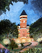 Clemson Art - Tillman by Night by Ashley Galloway