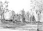 Historical Buildings Drawings Prints - Tillman Hall Clemson University Print by Gloria Turner