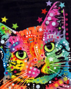 Colorful Print Paintings - Tilted Cat Warpaint by Dean Russo