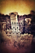Haunted Hills Posters - Tilted Gravestone Poster by Jill Battaglia
