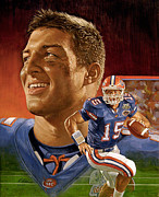 Tim Tebow Paintings - Tim at Florida by Ron Adair