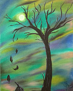 Tim Painting Metal Prints - Tim Burton Tree Metal Print by Sesha Lee
