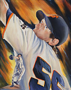 San Francisco Giants Painting Framed Prints - Tim Lincecum 2010 Framed Print by Angela  Villegas