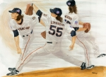 Cy Young Framed Prints - Tim Lincecum Study 2 World Series Framed Print by George  Brooks