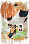 Cy Young Framed Prints - Tim Lincecum Study 3 Framed Print by George  Brooks