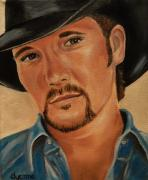 Celebrity Portraits Painting Originals - Tim McGraw Celebrity Painting by Dyanne Parker