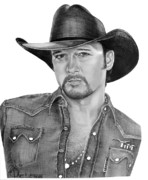 Famous People Drawings Framed Prints - Tim McGraw Framed Print by Murphy Elliott
