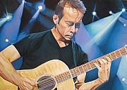 Musician Drawings Originals - Tim Reynolds and Lights by Joshua Morton