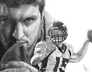 Denver Drawings Framed Prints - Tim Tebow Framed Print by Bobby Shaw