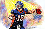 Nfl Drawings Prints - Tim  Tebow Print by Dave Olsen